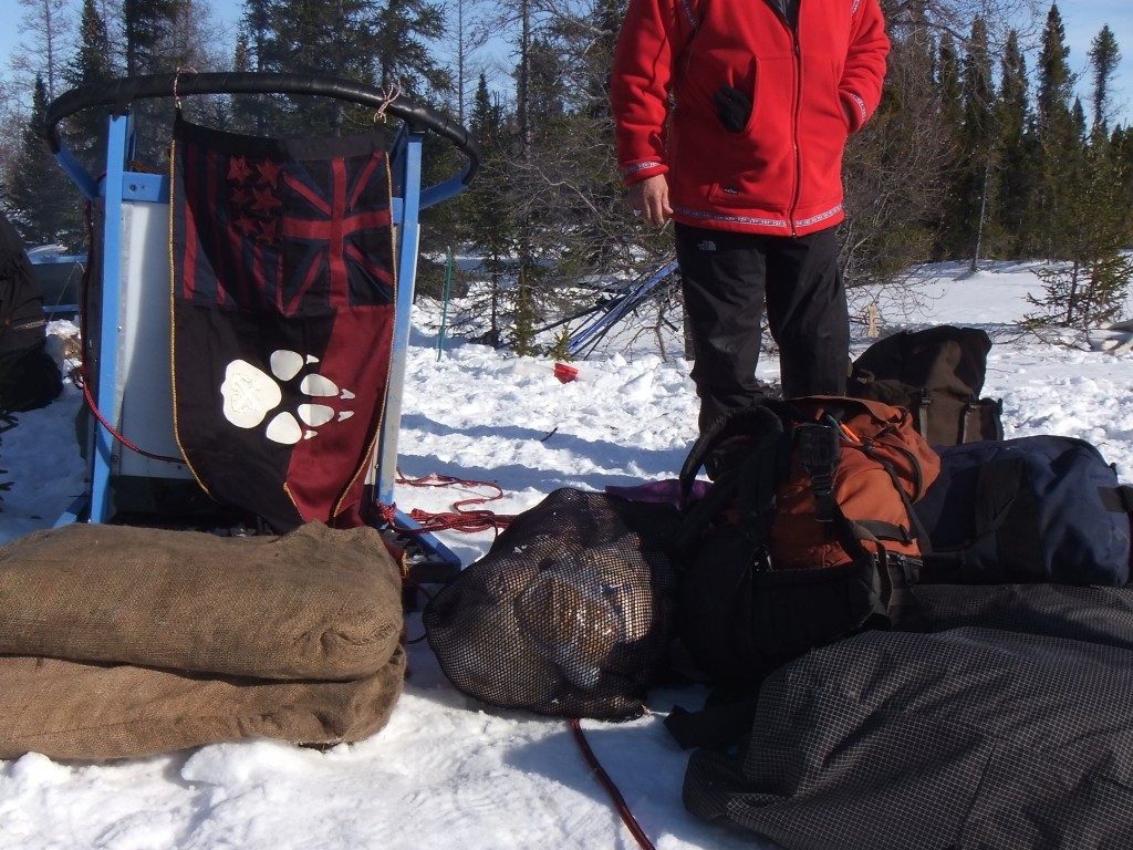 DOOP sledding pennant (left) on it's first outing, Hudson Bay, 2012.